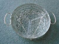 THREE SECTIONED GLASS PATTERNED DISH ON A STAND
