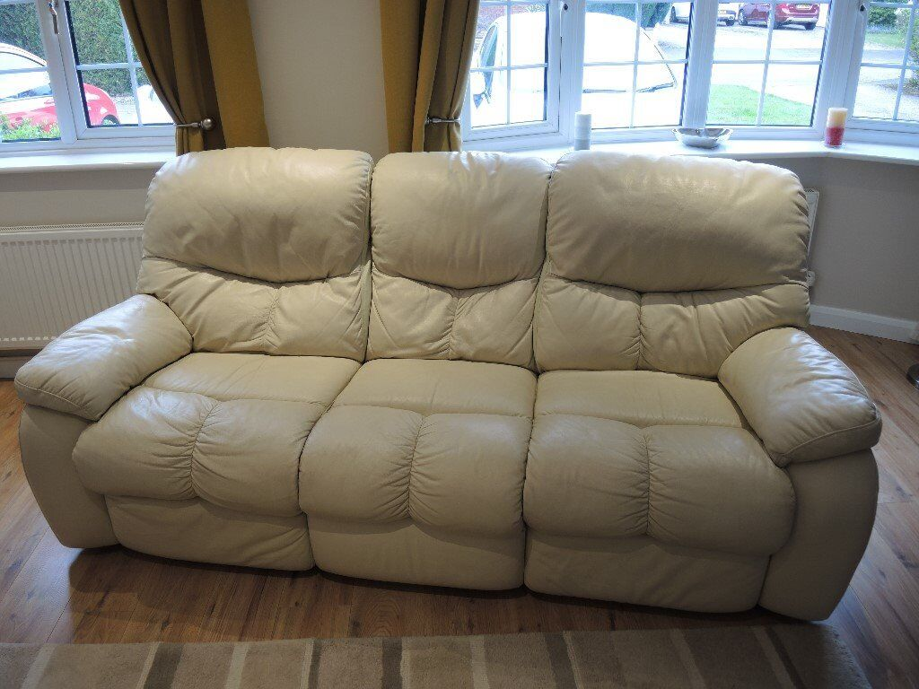 2 & 3 Seater Cream Leather Sofas with Electric Recline - Great Condition
