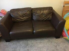 2 Seater brown leather look sofa for sale