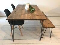 ARTEMIS Handmade Hairpin Leg Dining Table with Eiffel Chairs and Hairpin Bench Free Delivery