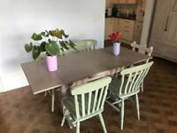 Romantic vintage extendable dining table & chairs