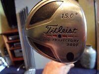 titleist 980f 3 wood 15 deg, stiff.