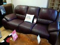 3+1 suite upholstered in wine leather - British Heart Foundation sco39426