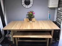 Large extending solid birch table with bench
