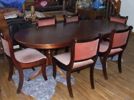 Dining table and 6 chairs hardwood set very good condition free edinburgh delivery
