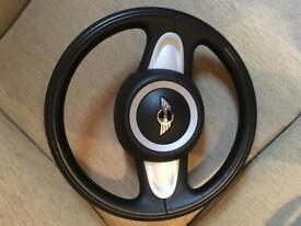 MINI One/Cooper/S Leather Two Spoke Steering Wheel and Airbag