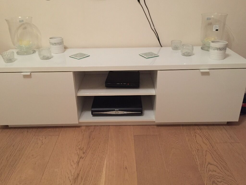 White gloss IKEA TV Unit Stand with storage | in Reading, Berkshire | Gumtree