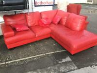 Red leather corner suite. Settee.