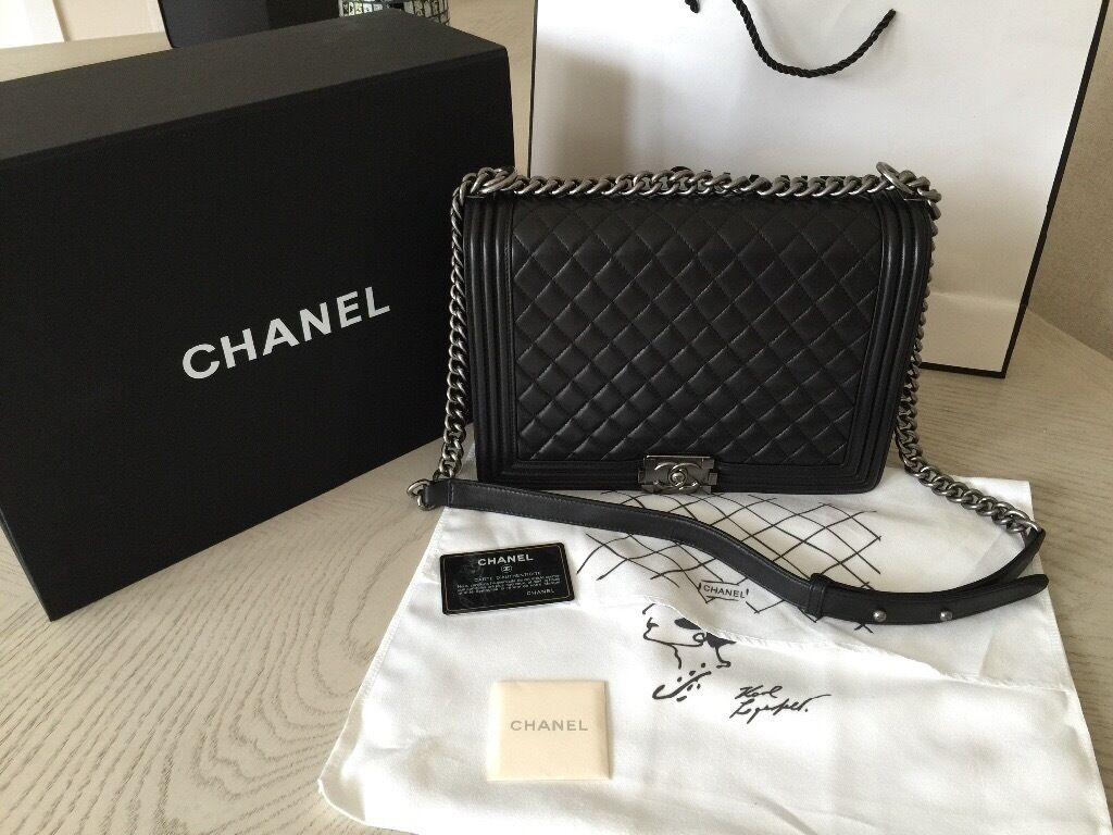 60350d0e790d Chanel leboy 30cm genuine lambskin leather. Silver chain | in ...