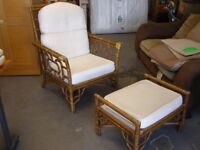 Bamboo Wicker Conservatory Chair and Footstool