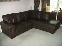 Brown leather corner sofa. Excellent condition. Each side is approx 7ft (210cm) long.