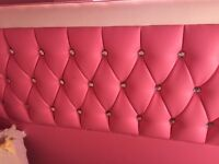 Pink leatherette double bed frame with diamanté detail