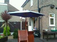 Garden umbrella on wooden frame 2mtrs x 2mtrs