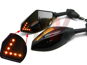 FRONT & BACK LED TURN SIGNALS INTEGRATED INDICATOR REARVIEW RACING MIRRORS SMOKE