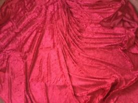 Red and gold velvet fabric