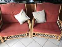 Two Large Conservatory Wicker Chairs