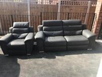 3 seater and single leather recliner