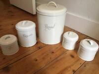 Food storage tins - canisters - off-white cream - bread, biscuits, sugar, coffee, tea