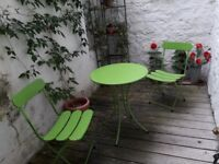 Garden bistro table and two chairs