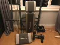 Weights bench and dumbells