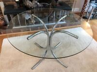 Round Glass Table with Chrome Legs