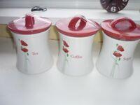 3 kitchen storage jars tea coffee sugar