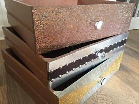 3 quirky drawers with beautiful handles