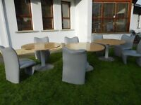 3 Designer Tables + Chairs
