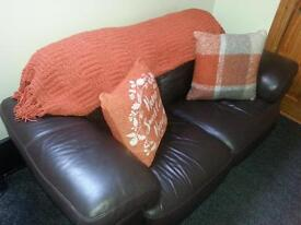 Chocolate Brown 2 seater settee