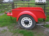VINTAGE COLLECTABLE RED TRAILER. 'AFS' GREAT WORKHORSE.EYE CATCHING.NEW TYRES + SPARE.DELIVERY POSS