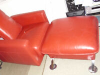 *** Unique Ferrari Red Leather Swivel Chair with Footstool * *Chair Sofa Bed * Italian hand made job