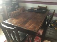 Indian Solid Wood Table and 6 chairs