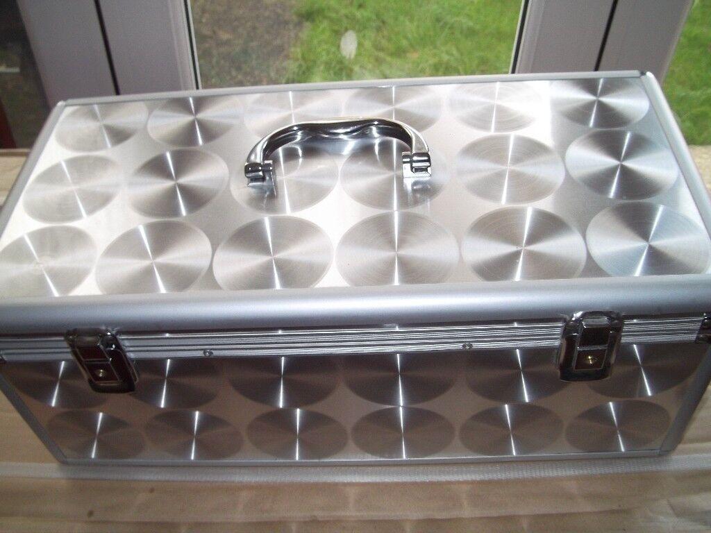Aluminium C D case with 195 (390) double wallets for sale