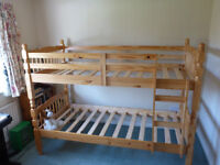 Pine Bunk Beds Good condition and possible to use as two single beds.