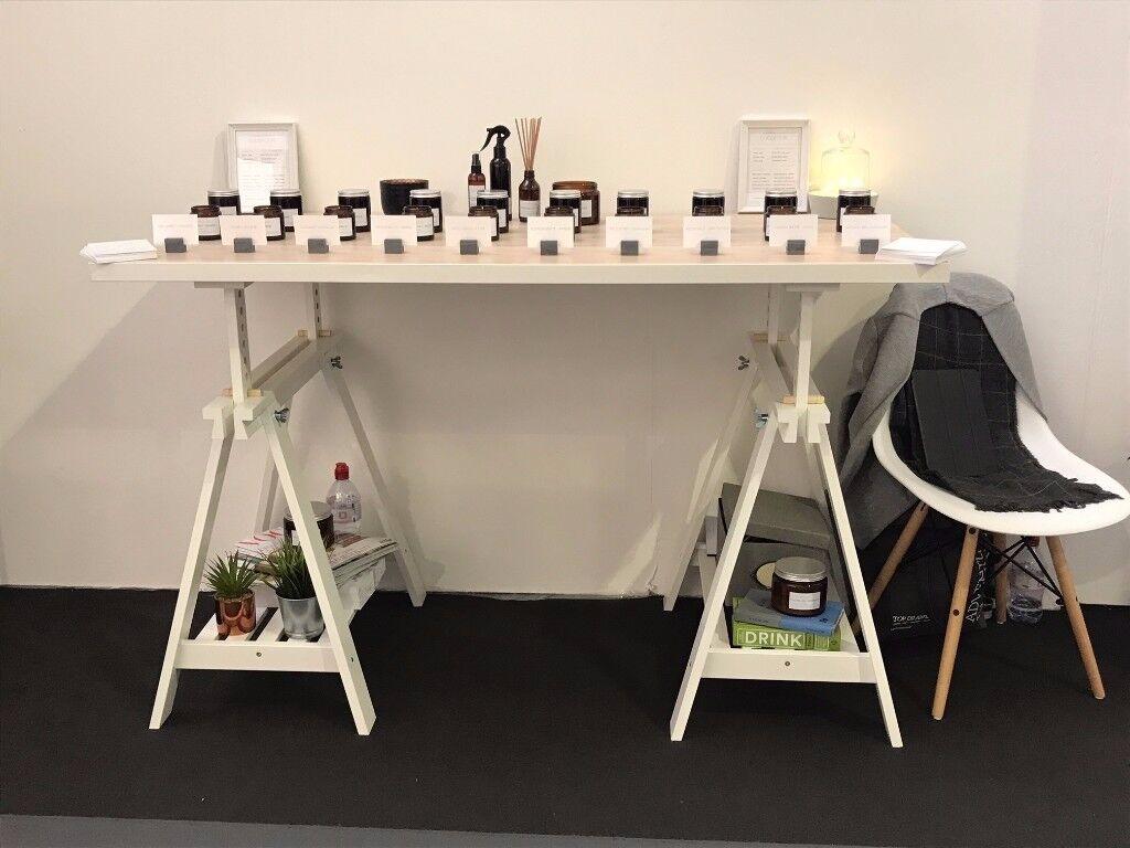 Ikea linnmon table top white stained oak effect & finnvard trestle