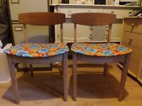 Pair of Retro Vintage Mid-century Danish style Teak Dining chair with flower fabric seat 60/70s