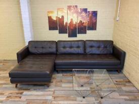 Dwell Superb Brown Leather Corner Sofa
