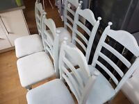REDUCED FOR QUICK SALE 6 x solid wood country style/shabby chic dining chairs