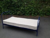 Habitat blue metal single bed frame and mattres for sale