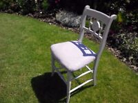Shabby chic bedroom chair upholstered in Laura Ashley Marchmont fabric