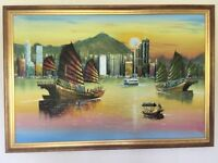 Beautiful oil painting of Victoria Harbour, Hong Kong