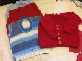 Hand knitted slip overs/ cardigan