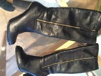Black faux leather size 7 boots from Tesco