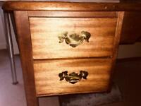 Vintage solid wood desk with four drawers