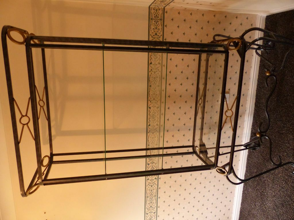 Display Unit Black Wrought Iron Gold Trim With Glass