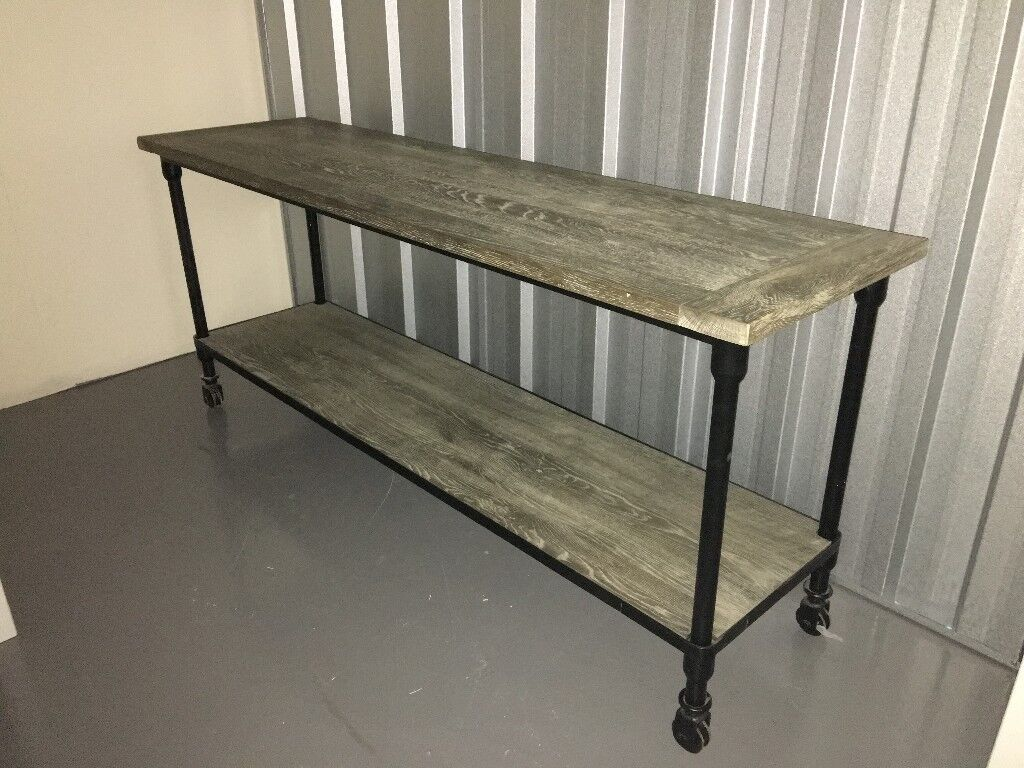 Industrial-style bench / shelves with castors