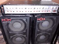 H / H PA system comprising of MA100 AMP AND TWO LOUDSPEAKERS.