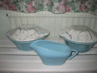 "J & G Meakin ""South Seas"" covered dishes and sauce boat"