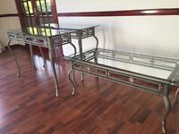Glass & Wrought Iron Coffee Table + 2 Consul Tables