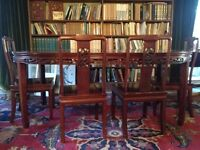 Fabulous Chinese antique carved dining table and chairs, extending panels
